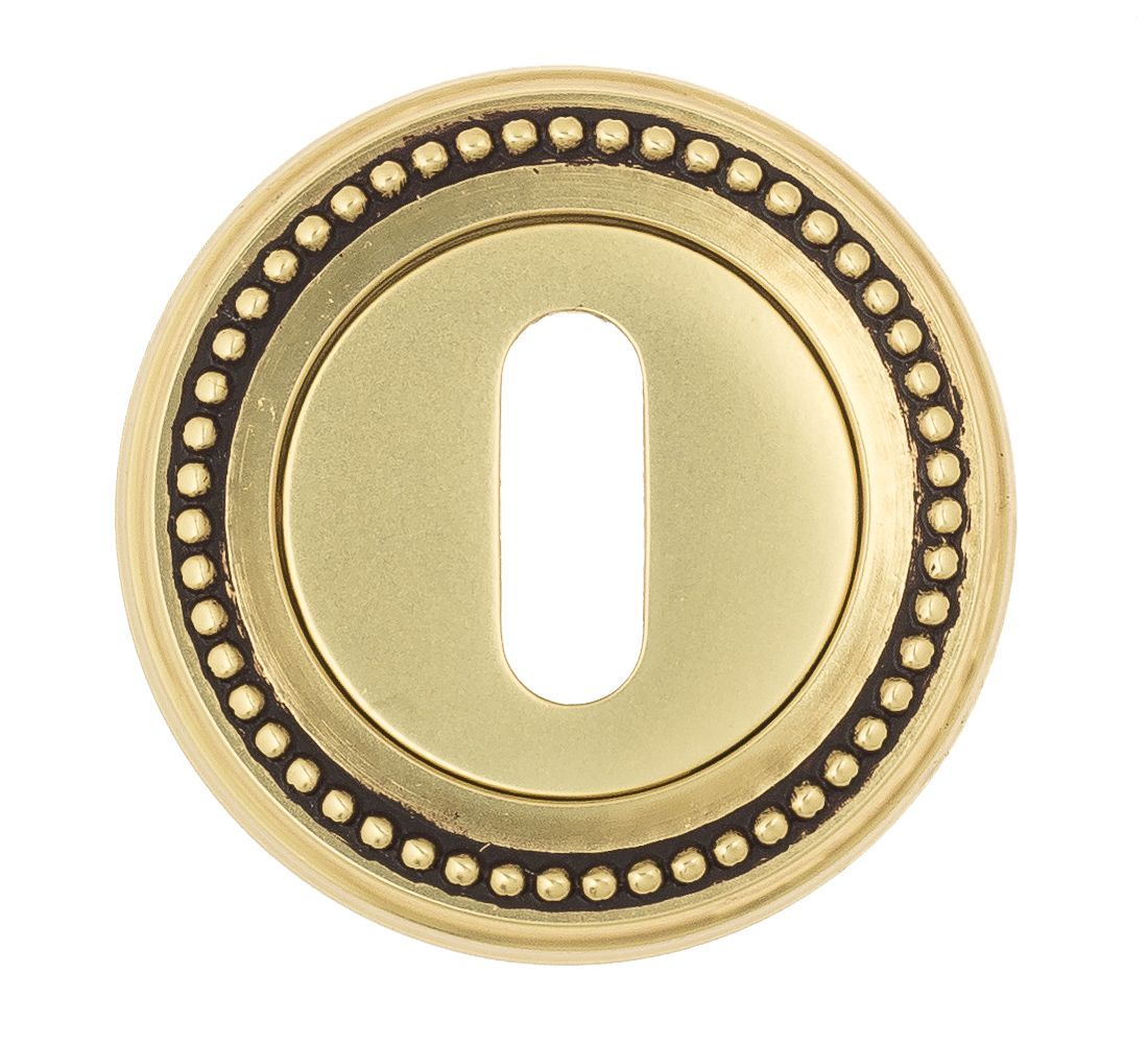 Keyhole Escutcheon Venezia KEY-1 D3 French Gold + Brown