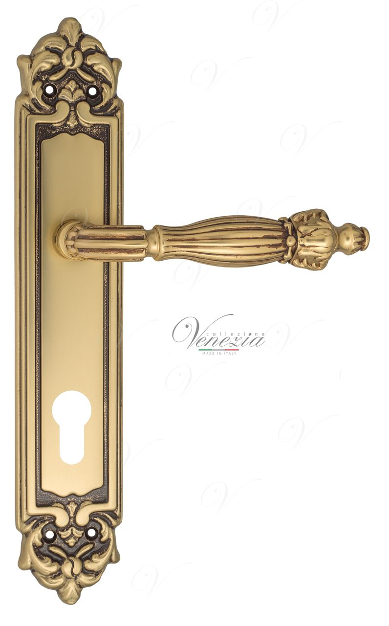 Door Handle Venezia  OLIMPO  CYL On Backplate PL96 French Gold + Brown