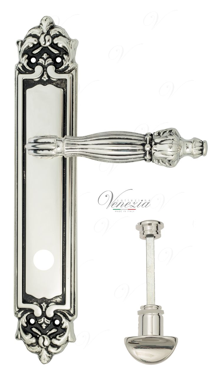 Door Handle Venezia  OLIMPO  WC-2 On Backplate PL96 Natural Silver + Black