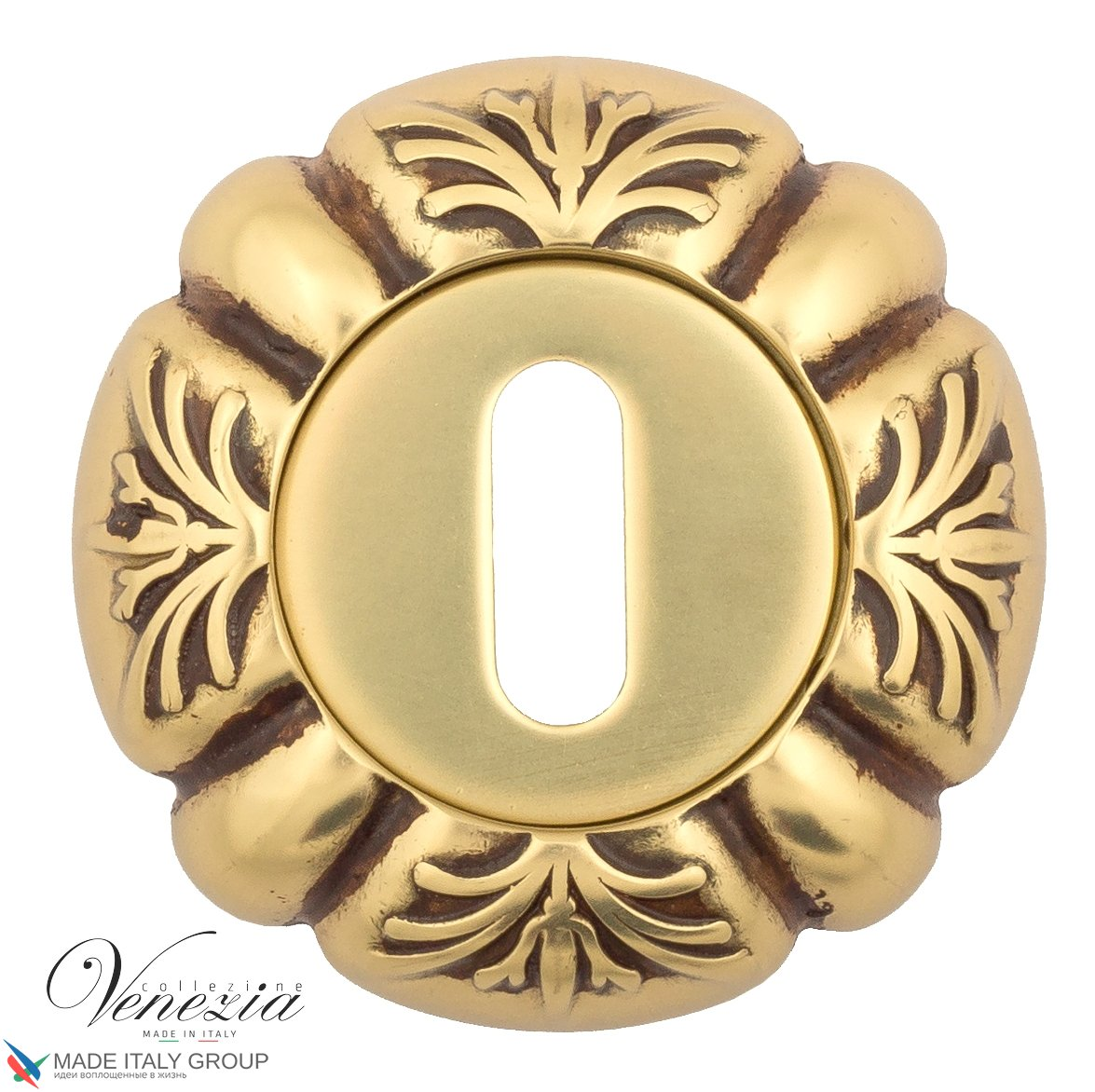 Keyhole Escutcheon Venezia KEY-1 D5 French Gold + Brown