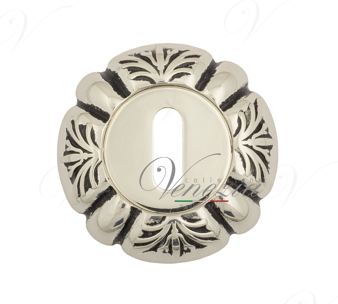 Keyhole Escutcheon Venezia KEY-1 D5 Natural Silver + Black
