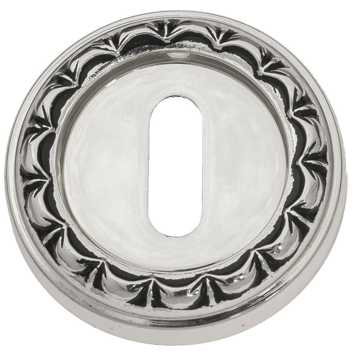 Keyhole Escutcheon Venezia KEY-1 D2 Natural Silver + Black