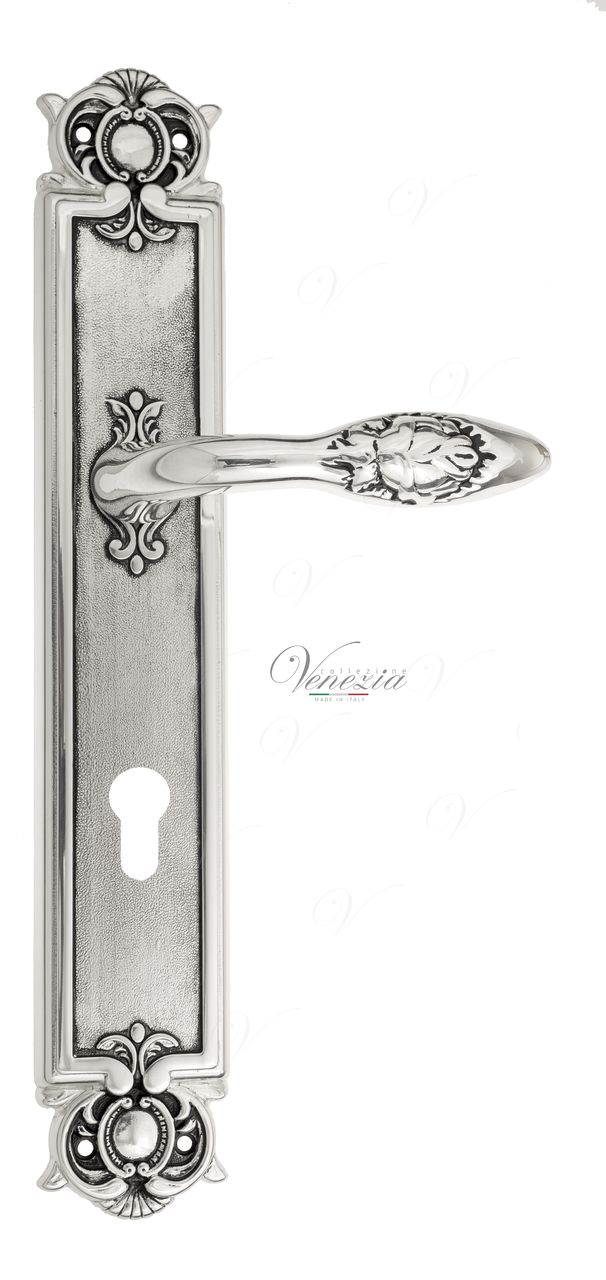 Door Handle Venezia  CASANOVA  CYL On Backplate PL97 Natural Silver + Black