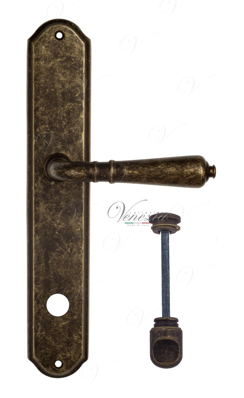 Door Handle Venezia  VIGNOLE  WC-1 On Backplate PL02 Antique Bronze