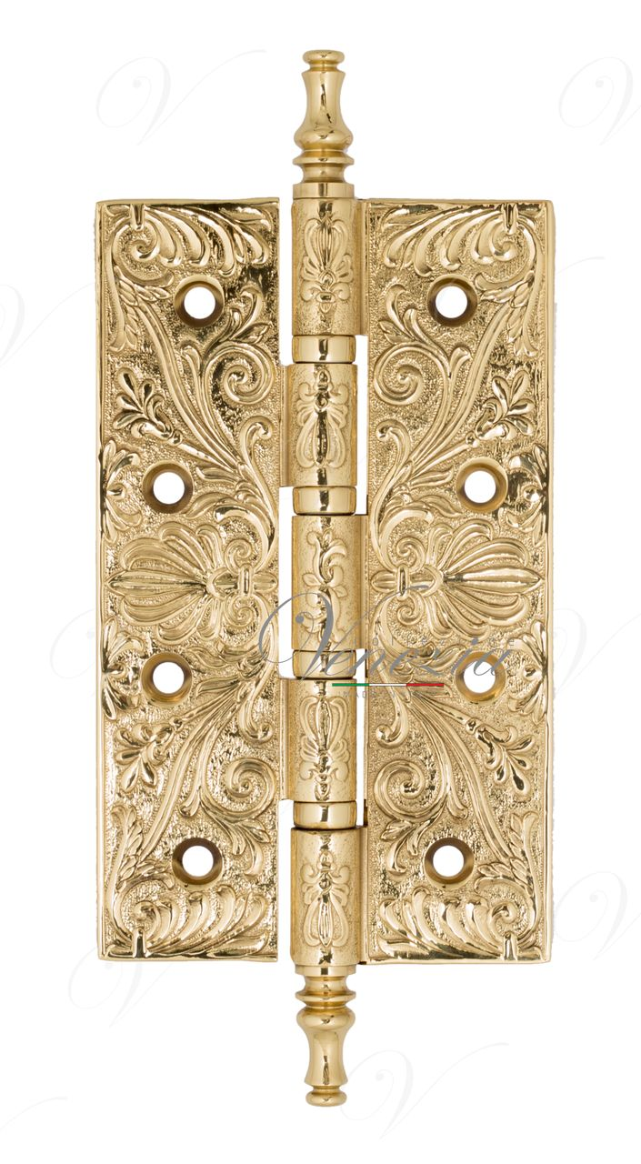 Universal Brass Hinge With Pattern Venezia CRS012 152x89x4 Polished Brass