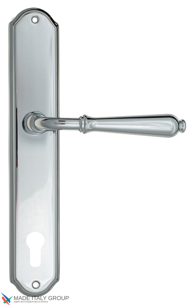 Door Handle Venezia  CLASSIC  CYL On Backplate PL02 Polished Chrome