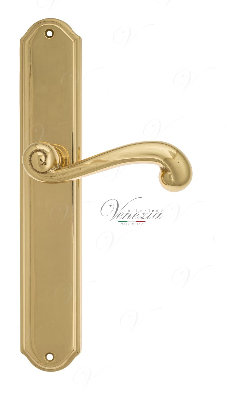 Door Handle Venezia  CARNEVALE  On Backplate PL02 Polished Brass
