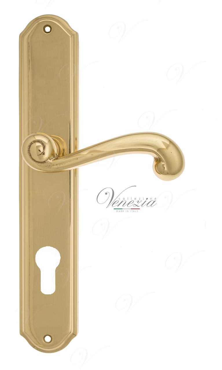 Door Handle Venezia  CARNEVALE  CYL On Backplate PL02 Polished Brass
