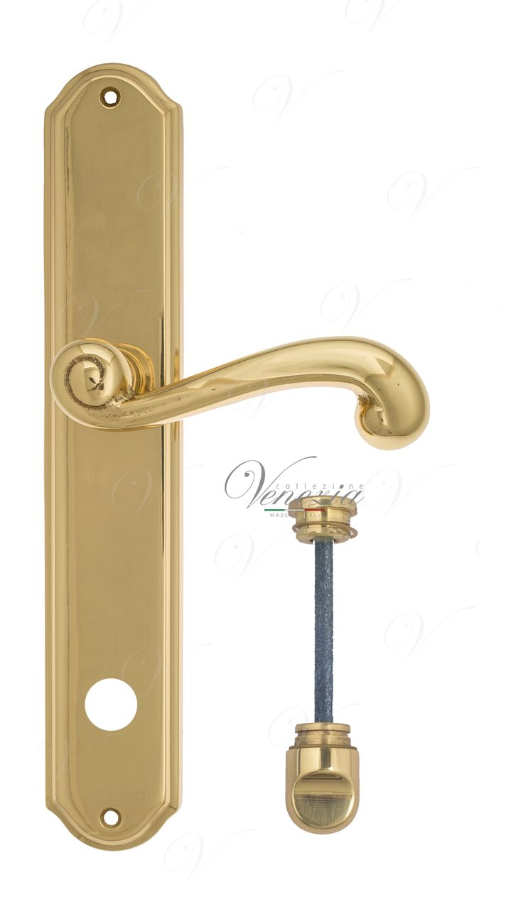 Door Handle Venezia  CARNEVALE  WC-1 On Backplate PL02 Polished Brass