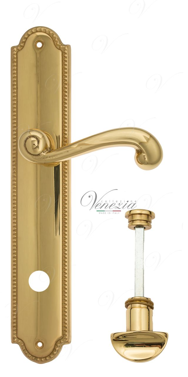 Door Handle Venezia  CARNEVALE  WC-2 On Backplate PL98 Polished Brass