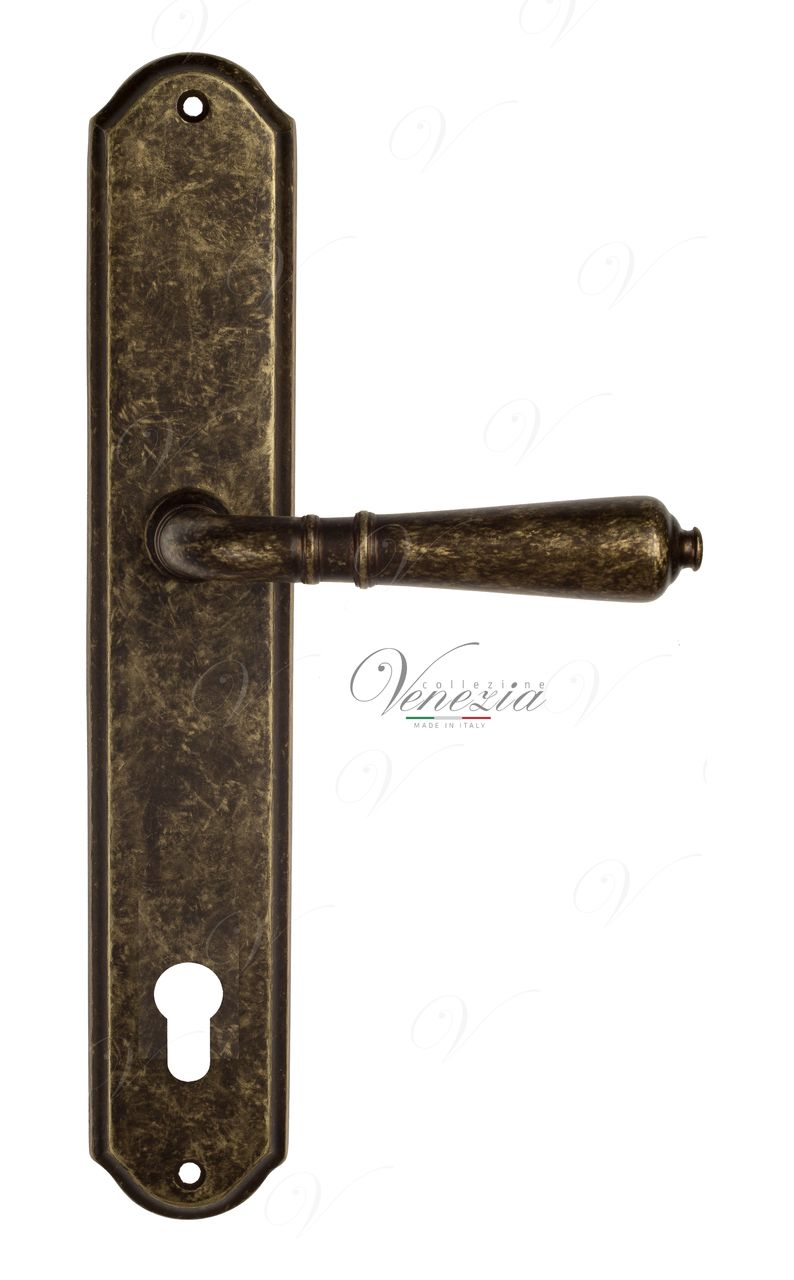 Door Handle Venezia  VIGNOLE  CYL On Backplate PL02 Antique Bronze