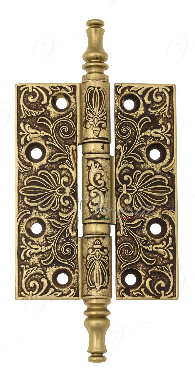 Universal Brass Hinge With Pattern Venezia CRS011 102x76x4 French Gold + Brown