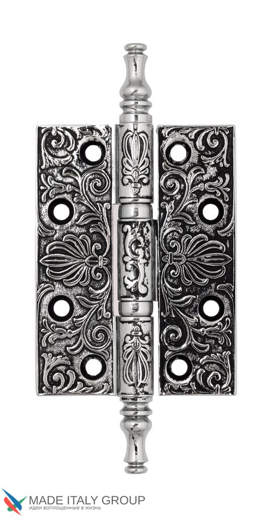 Universal Brass Hinge With Pattern Venezia CRS011 102x76x4 Polished Chrome + Black
