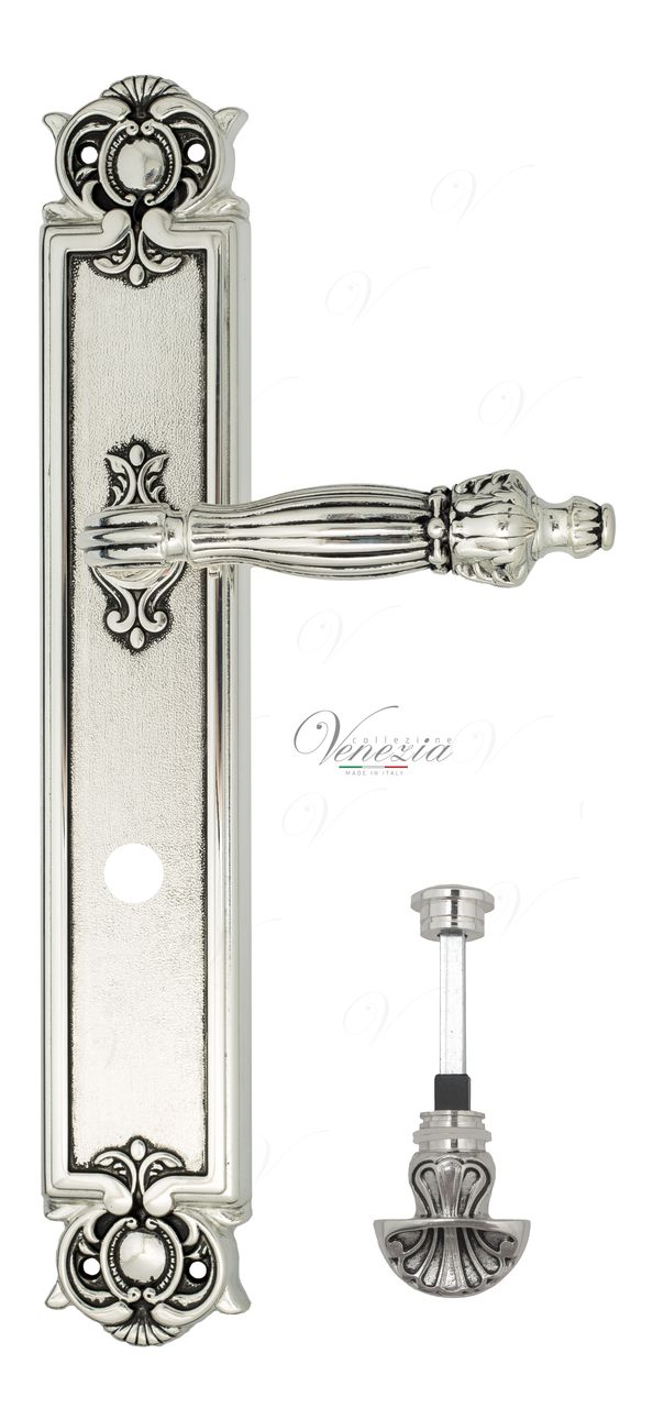 Door Handle Venezia  OLIMPO  WC-4 On Backplate PL97 Natural Silver + Black