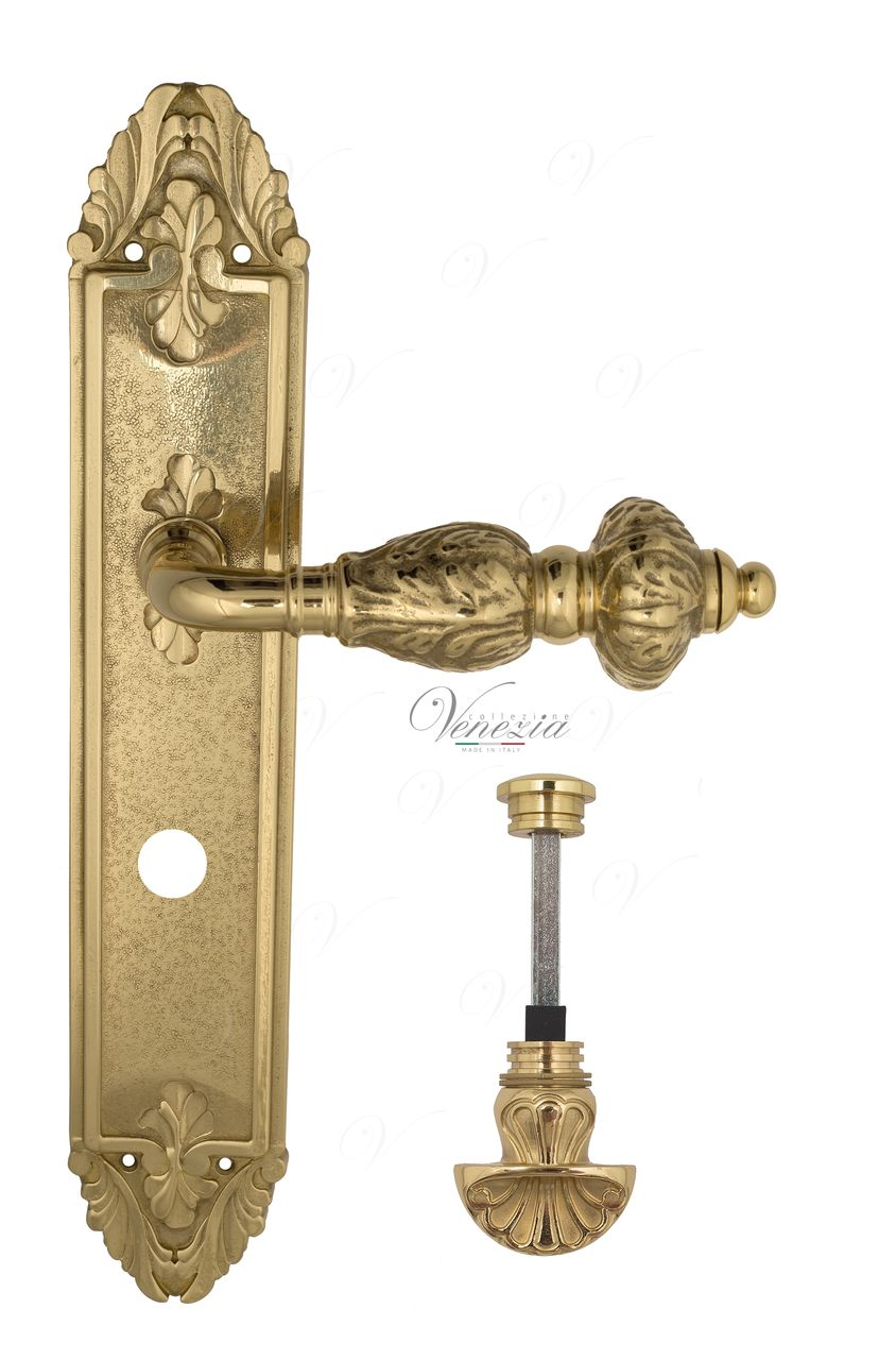 Door Handle Venezia  LUCRECIA  WC-4 On Backplate PL90 Polished Brass