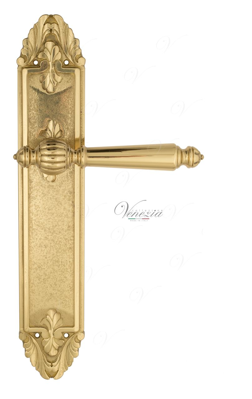 Door Handle Venezia  PELLESTRINA  On Backplate PL90 Polished Brass