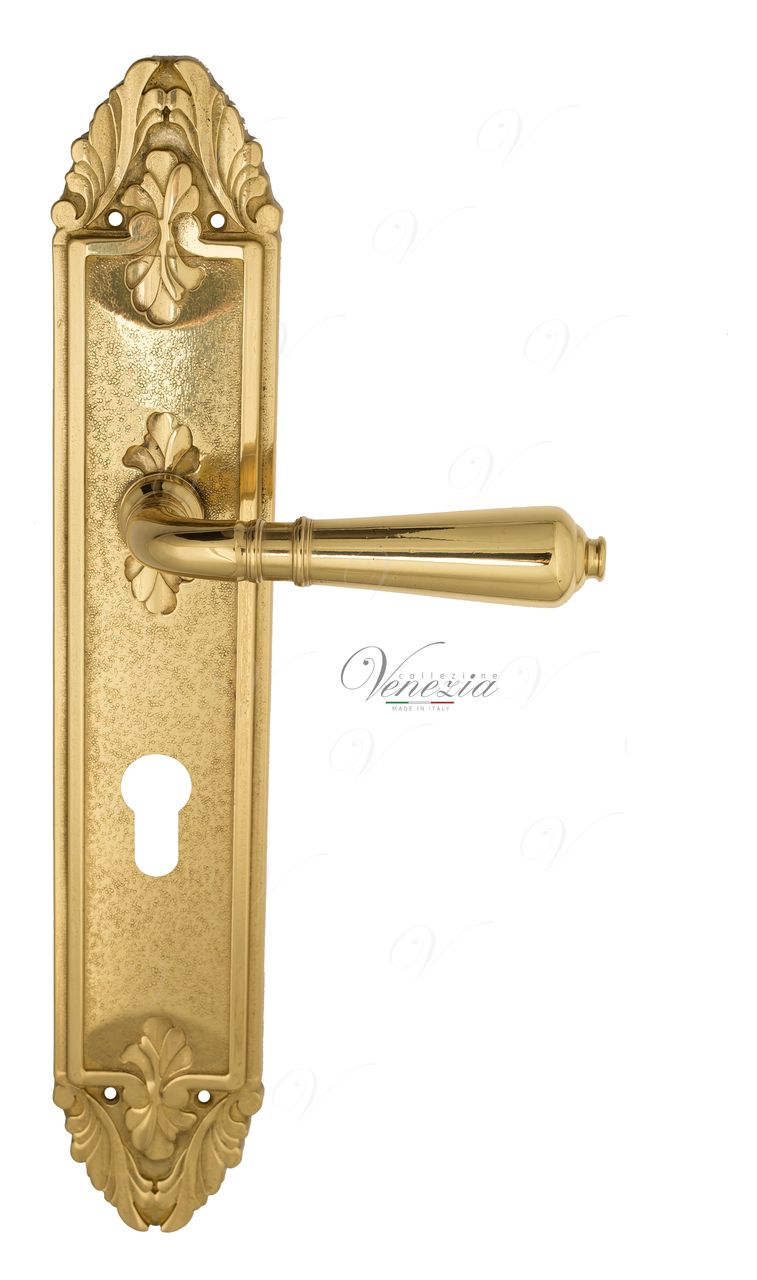Door Handle Venezia  VIGNOLE  CYL On Backplate PL90 Polished Brass
