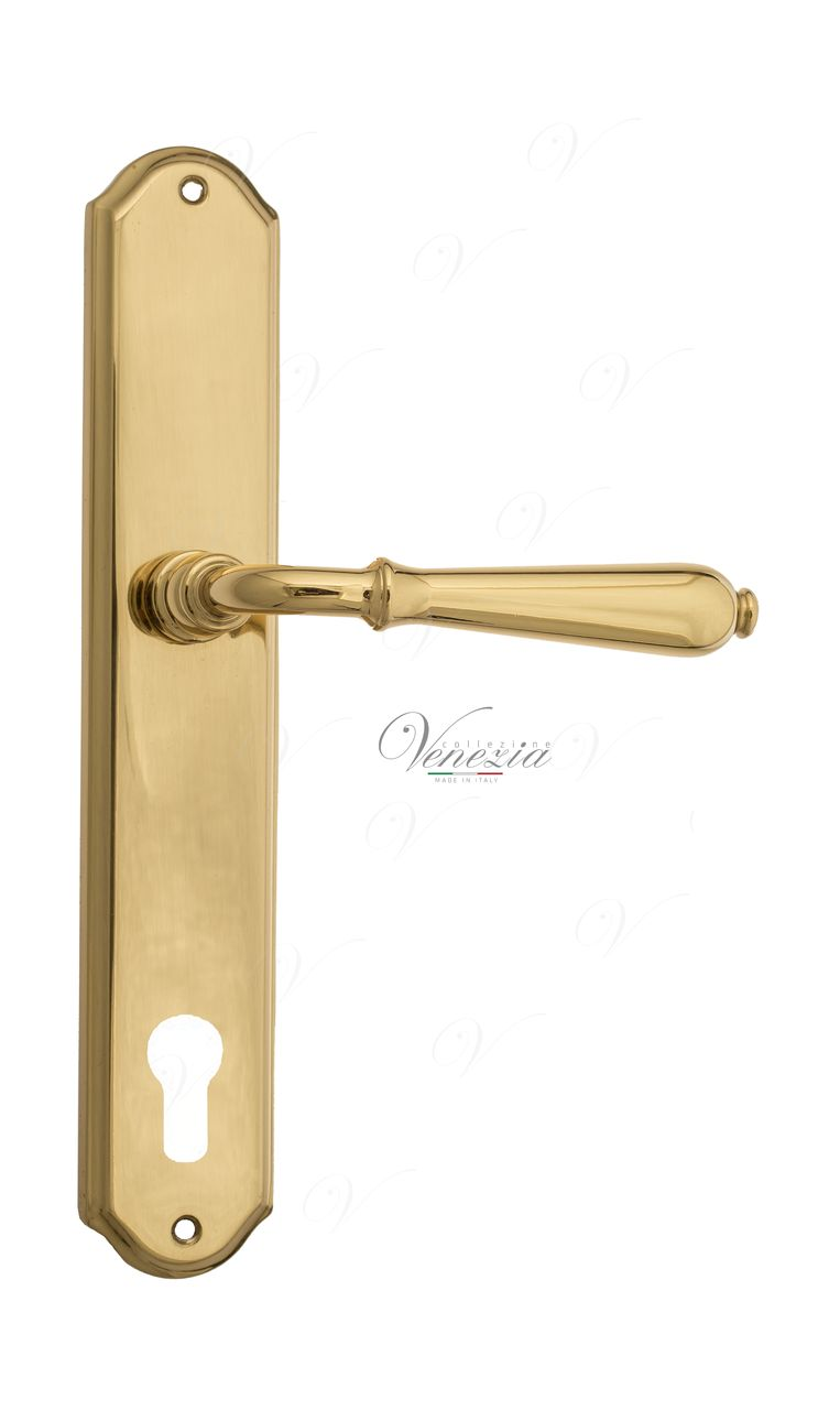 Door Handle Venezia  CLASSIC  CYL On Backplate PL02 Polished Brass