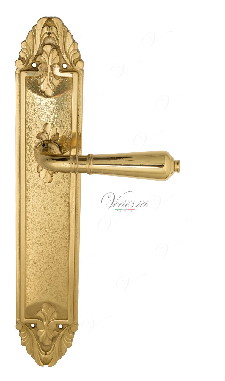 Door Handle Venezia  VIGNOLE  On Backplate PL90 Polished Brass