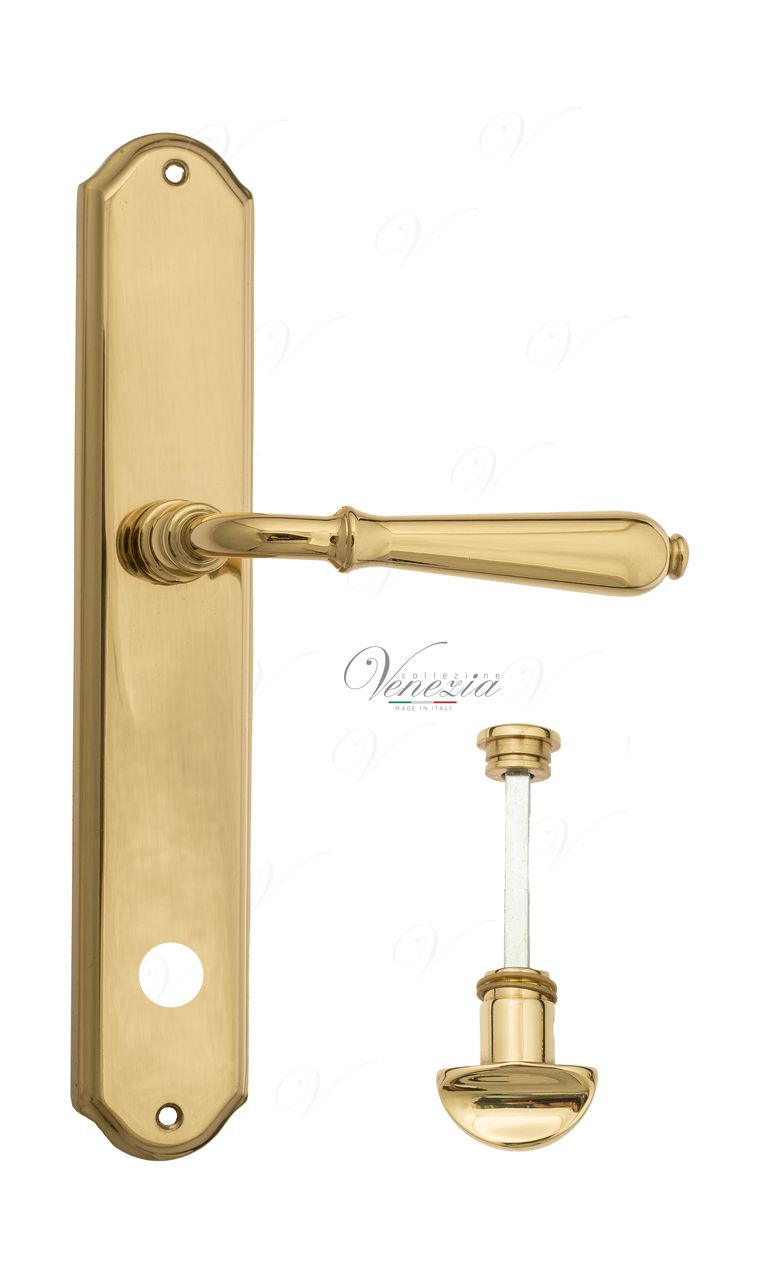 Door Handle Venezia  CLASSIC  WC-1 On Backplate PL02 Polished Brass