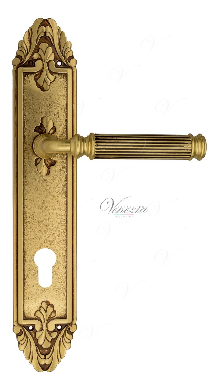 Door Handle Venezia  MOSCA  CYL On Backplate PL90 French Gold + Brown