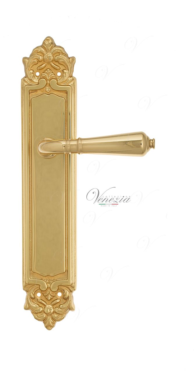 Door Handle Venezia  VIGNOLE  On Backplate PL96 Polished Brass