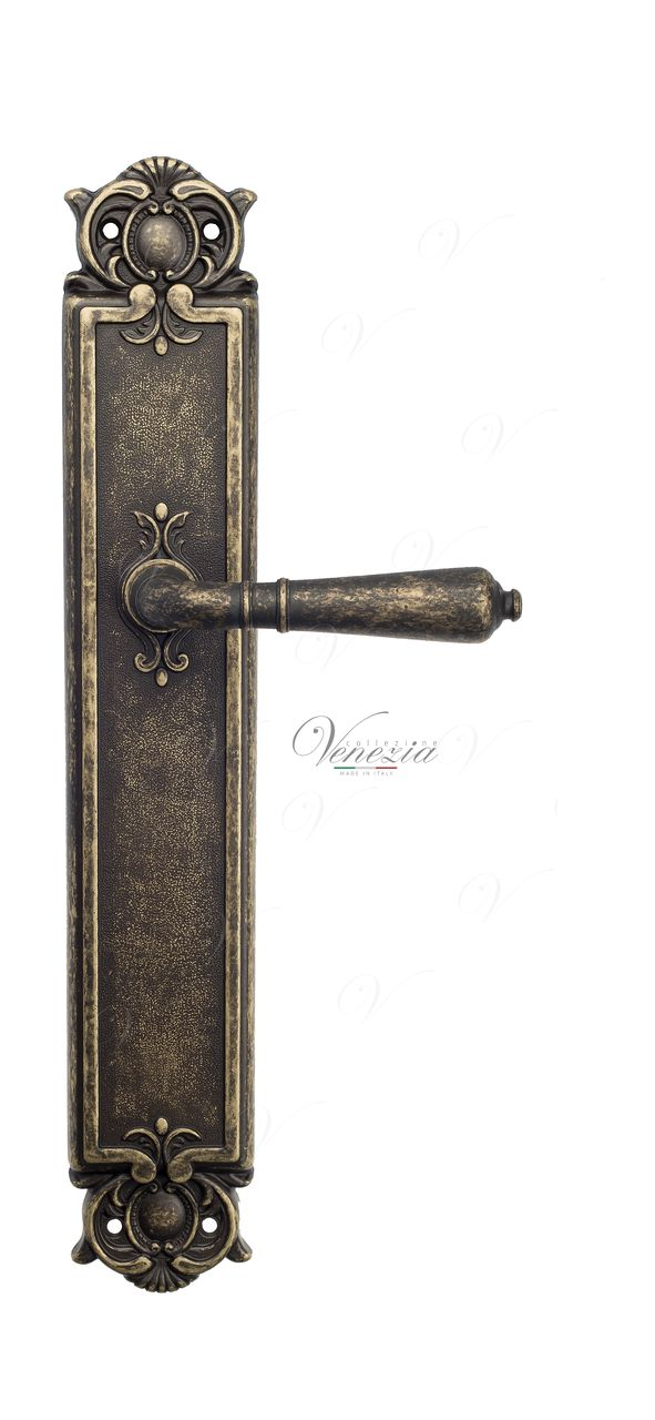 Door Handle Venezia  VIGNOLE  On Backplate PL97 Antique Bronze