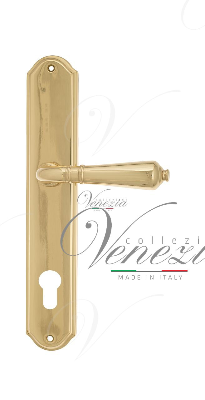 Door Handle Venezia  VIGNOLE  CYL On Backplate PL02 Polished Brass