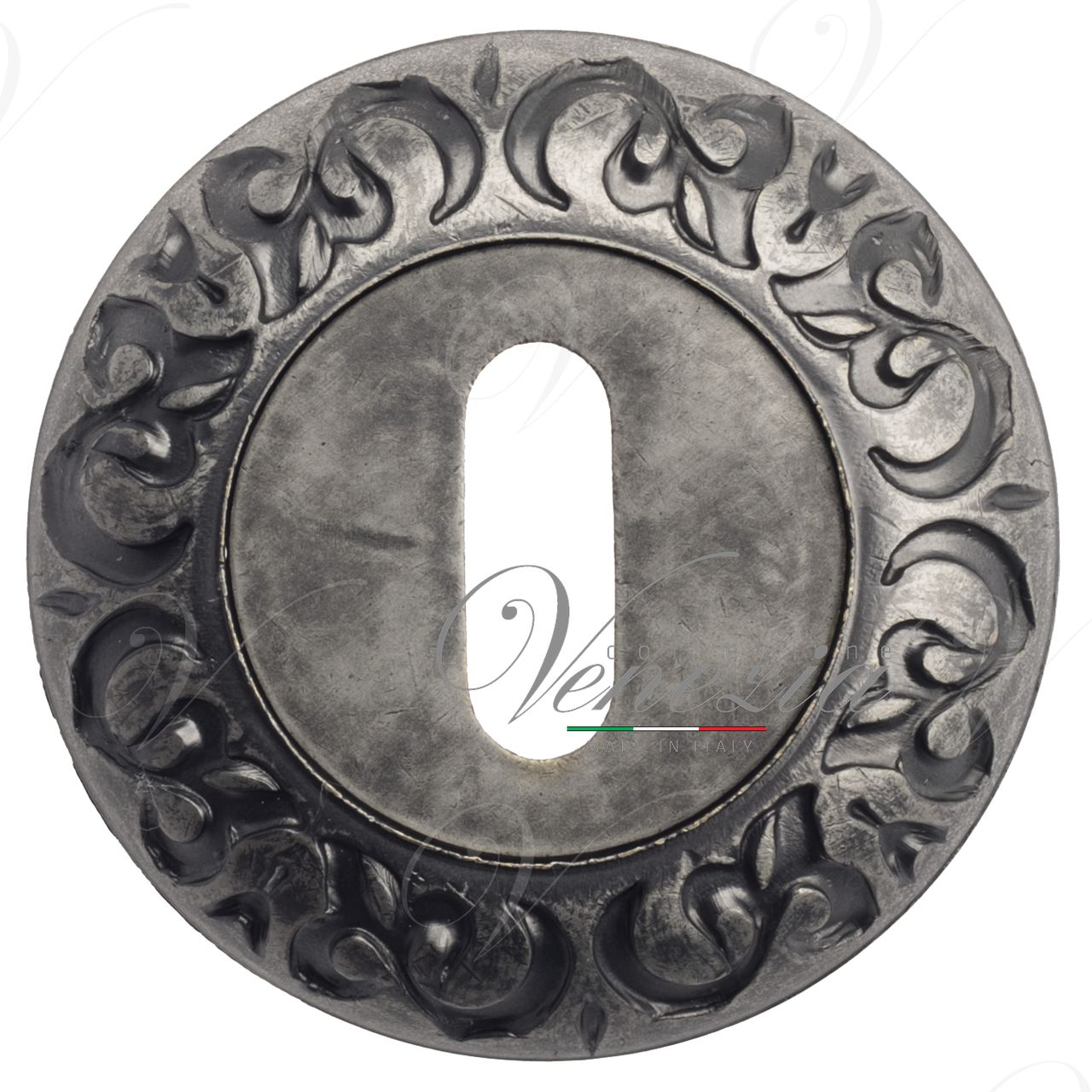 Keyhole Escutcheon Venezia KEY-1 D4 Antique Silver