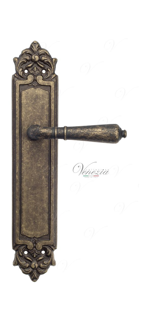 Door Handle Venezia  VIGNOLE  On Backplate PL96 Antique Bronze