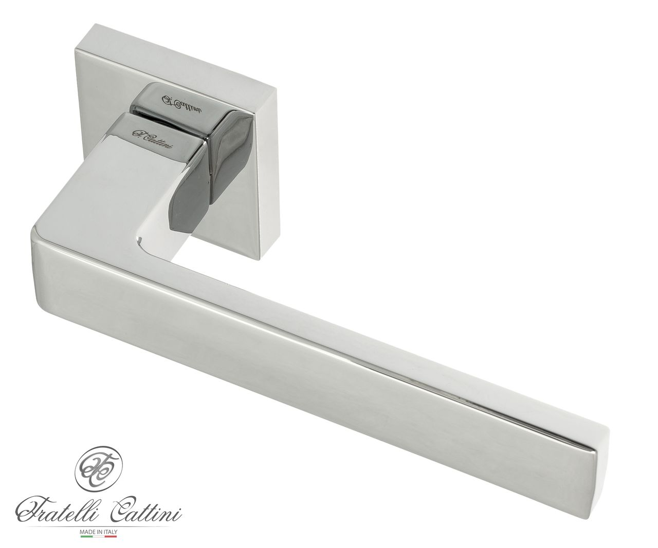 Door Handle on Square Basis Fratelli Cattini ''BOOM'' 8-CR Polished Chrome