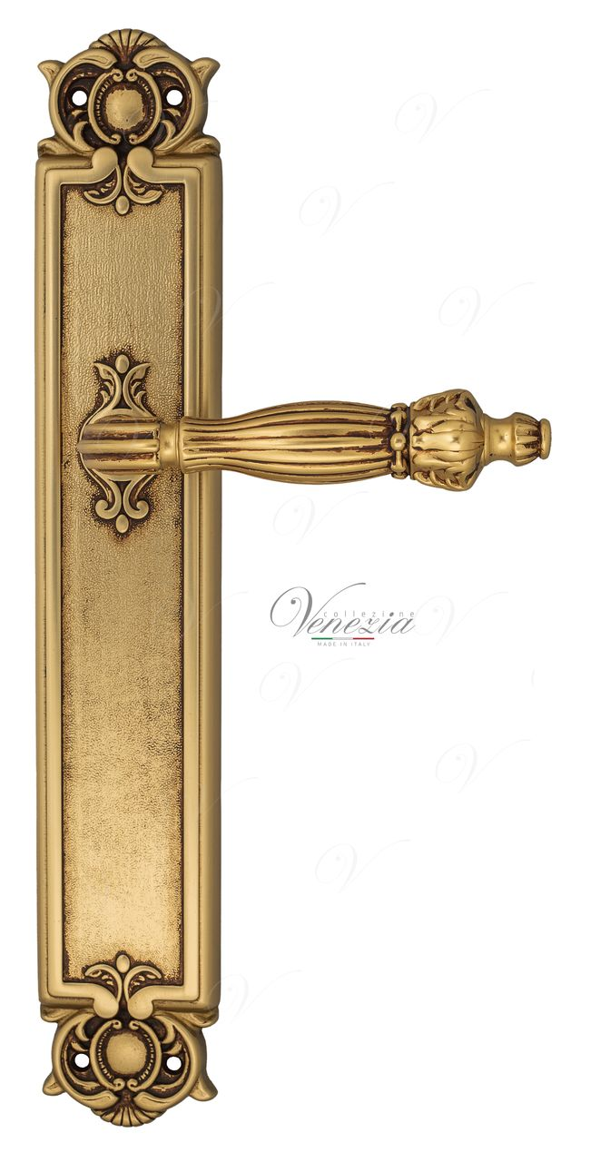 Door Handle Venezia  OLIMPO  On Backplate PL97 French Gold + Brown
