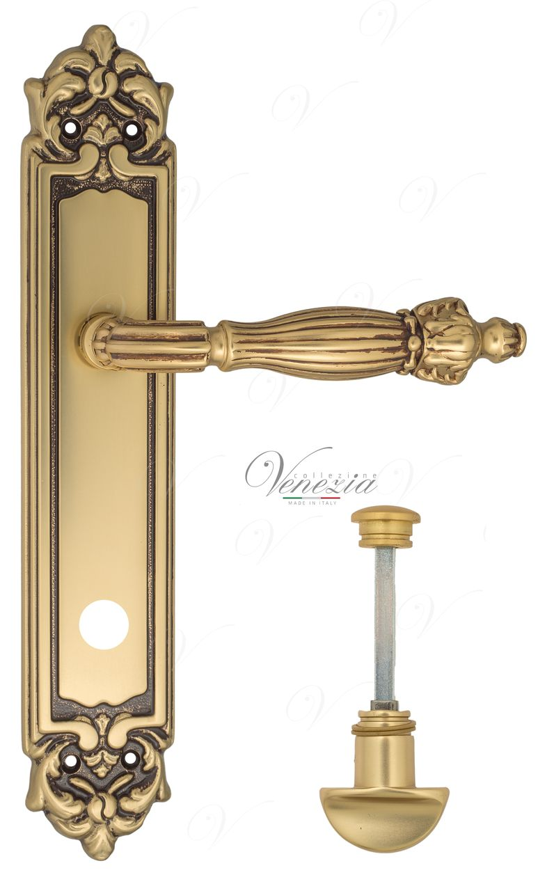 Door Handle Venezia  OLIMPO  WC-2 On Backplate PL96 French Gold + Brown