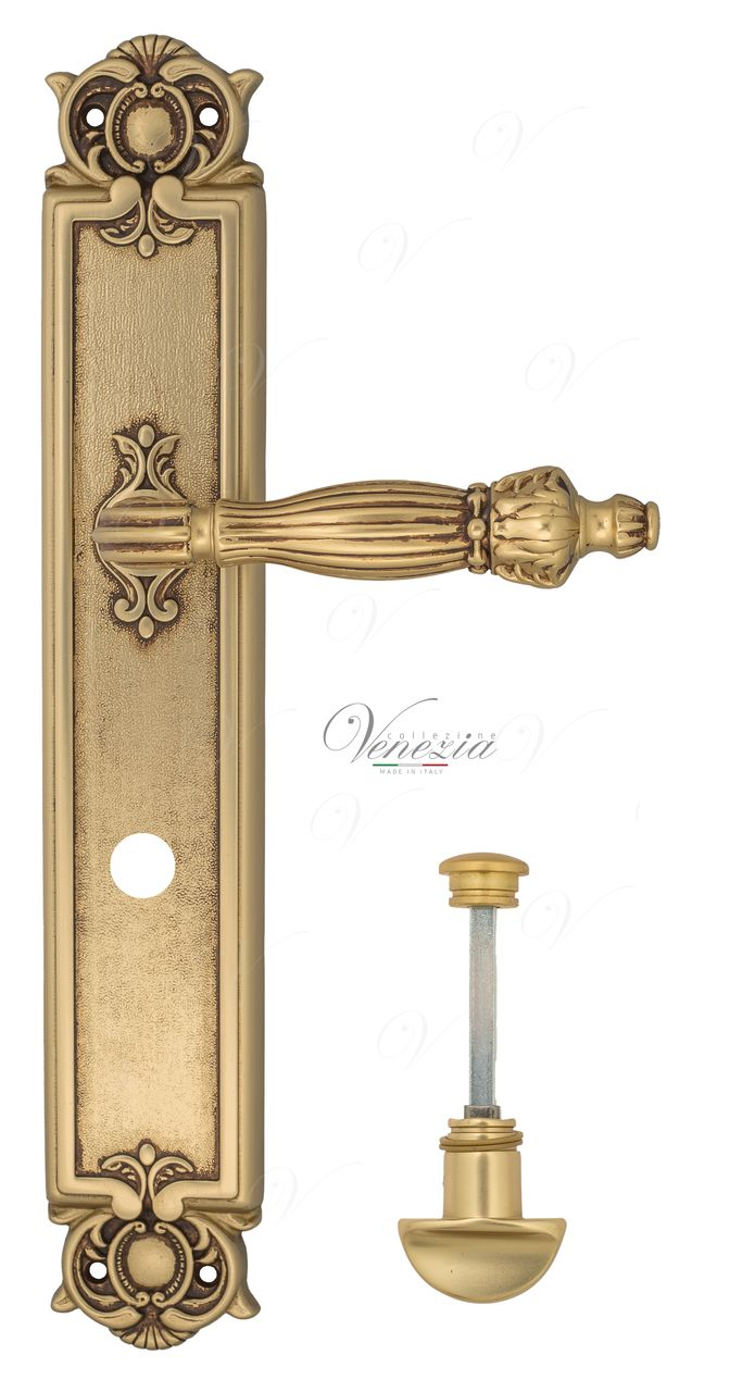Door Handle Venezia  OLIMPO  WC-2 On Backplate PL97 French Gold + Brown