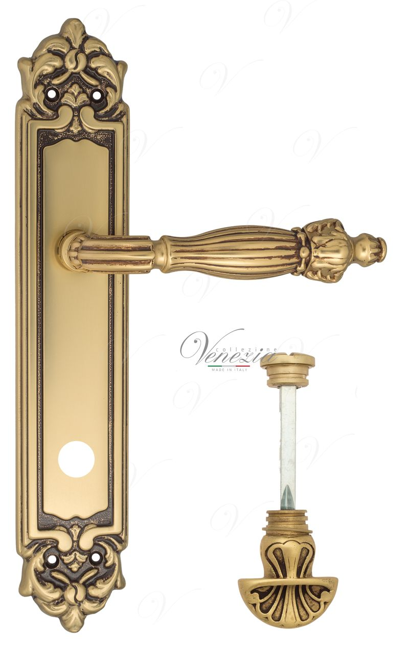 Door Handle Venezia  OLIMPO  WC-4 On Backplate PL96 French Gold + Brown