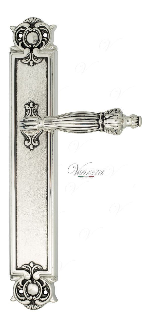 Door Handle Venezia  OLIMPO  On Backplate PL97 Natural Silver + Black