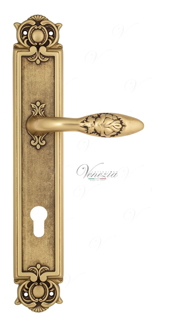 Door Handle Venezia  CASANOVA  CYL On Backplate PL97 French Gold + Brown