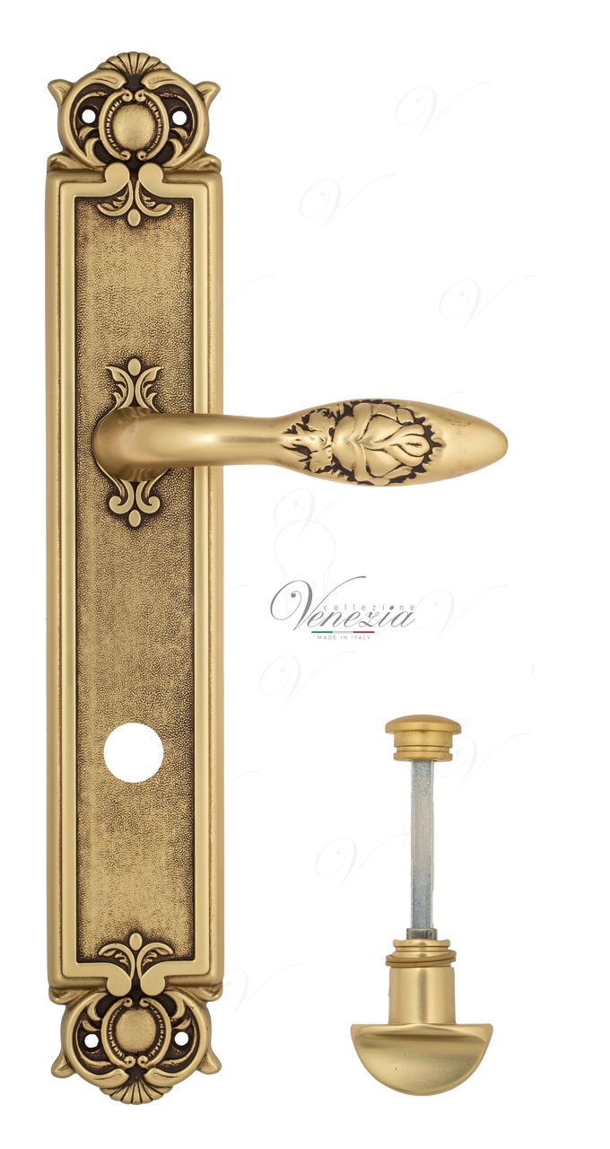 Door Handle Venezia  CASANOVA  WC-2 On Backplate PL97 French Gold + Brown