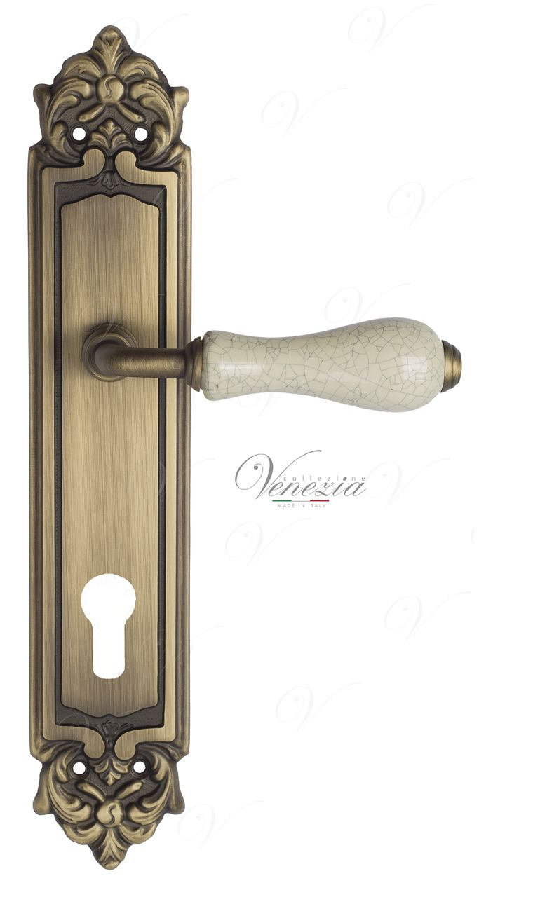 Door Handle Venezia  COLOSSEO  White Ceramic Gossamer CYL On Backplate PL96 Mat Bronze