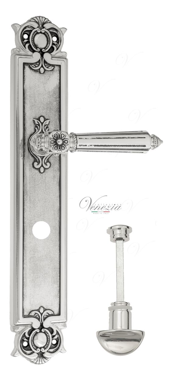 Door Handle Venezia  CASTELLO  WC-2 On Backplate PL97 Natural Silver + Black