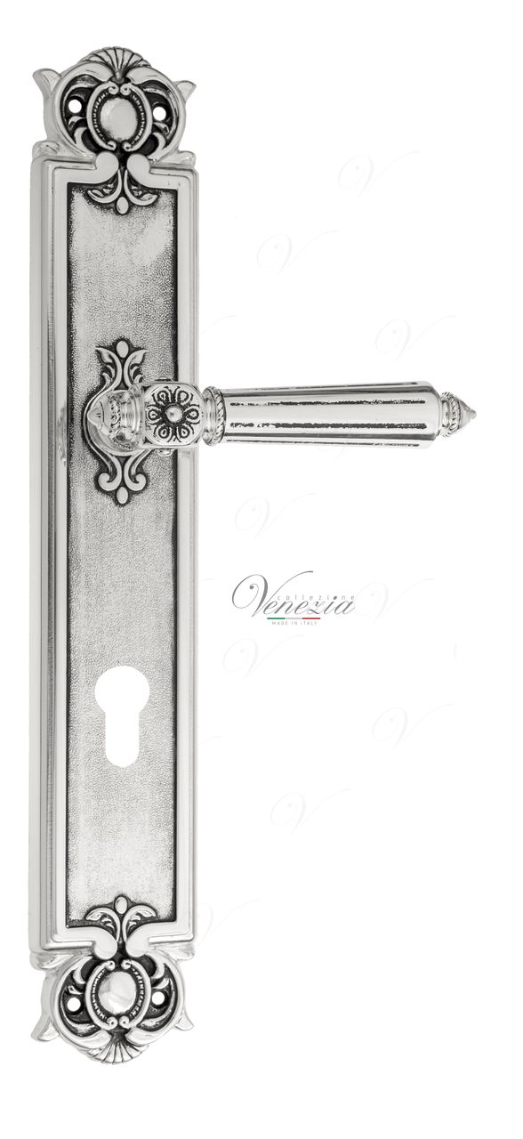 Door Handle Venezia  CASTELLO  CYL On Backplate PL97 Natural Silver + Black