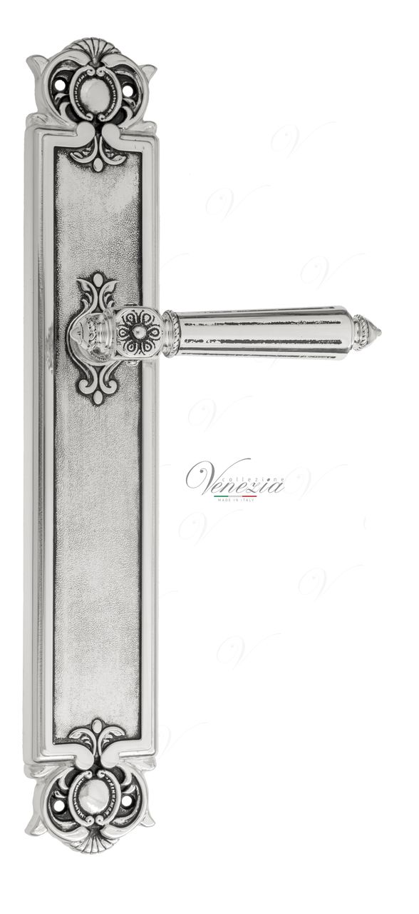 Door Handle Venezia  CASTELLO  On Backplate PL97 Natural Silver + Black