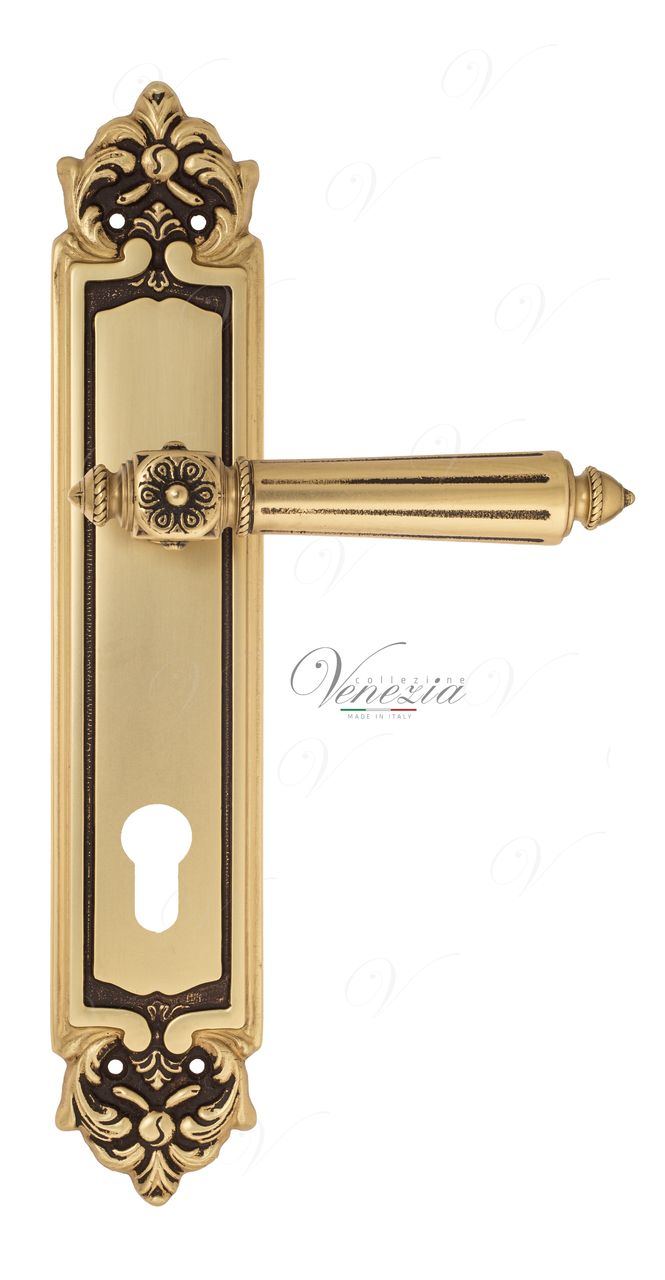 Door Handle Venezia  CASTELLO  CYL On Backplate PL96 French Gold + Brown