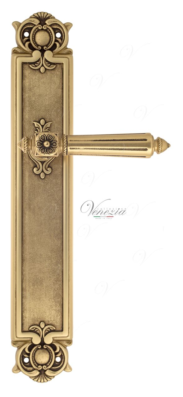 Door Handle Venezia  CASTELLO  On Backplate PL97 French Gold + Brown