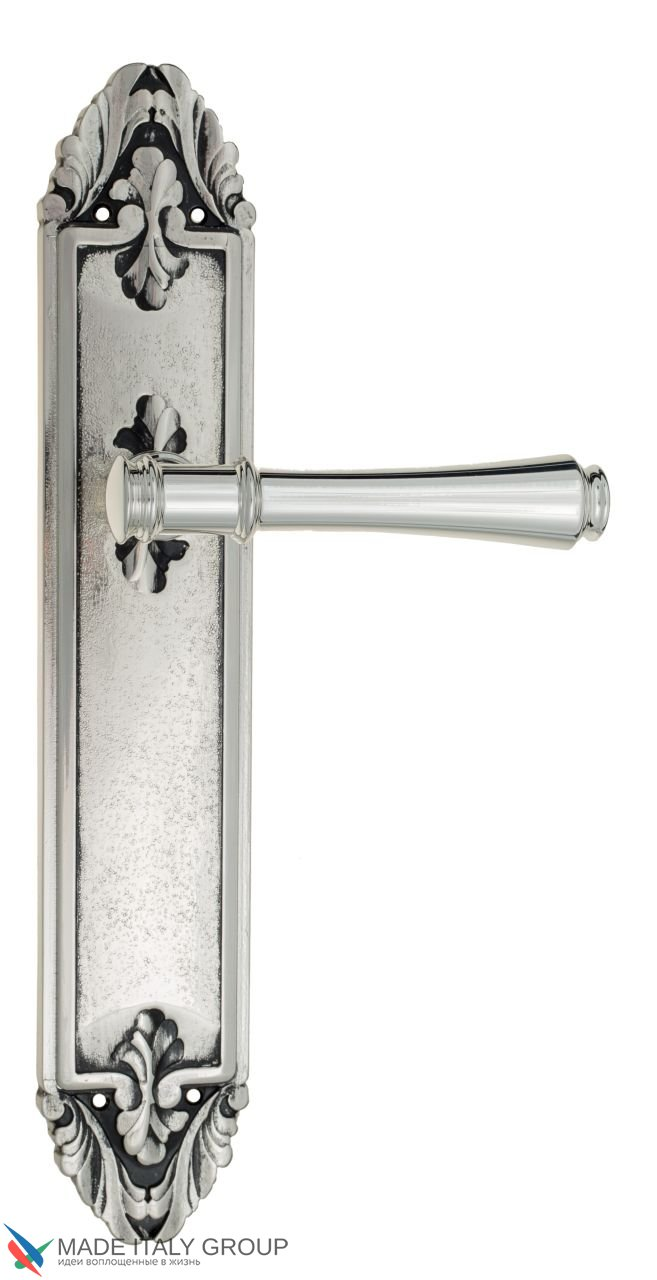 Door Handle Venezia  CALLISTO  On Backplate PL90 Natural Silver + Black