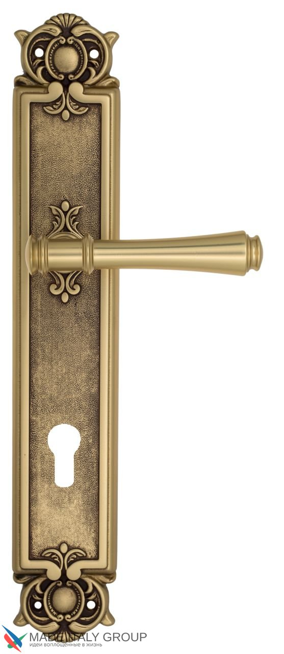 Door Handle Venezia  CALLISTO  CYL On Backplate PL97 French Gold + Brown