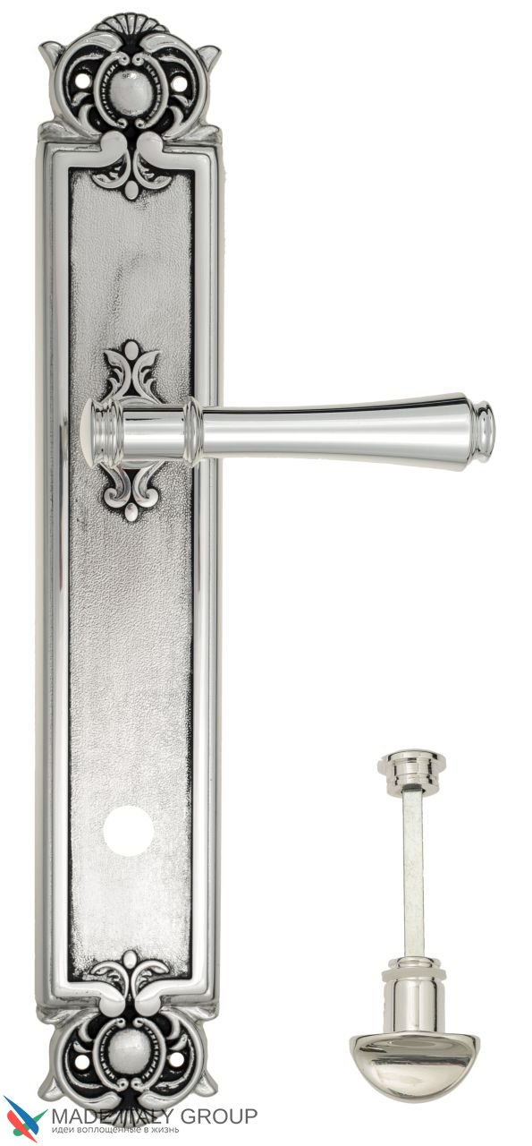 Door Handle Venezia  CALLISTO  WC-2 On Backplate PL97 Natural Silver + Black