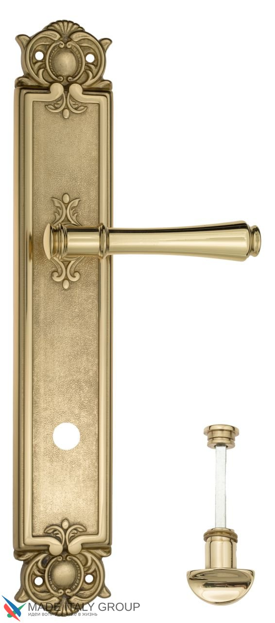 Door Handle Venezia  CALLISTO  WC-2 On Backplate PL97 Polished Brass