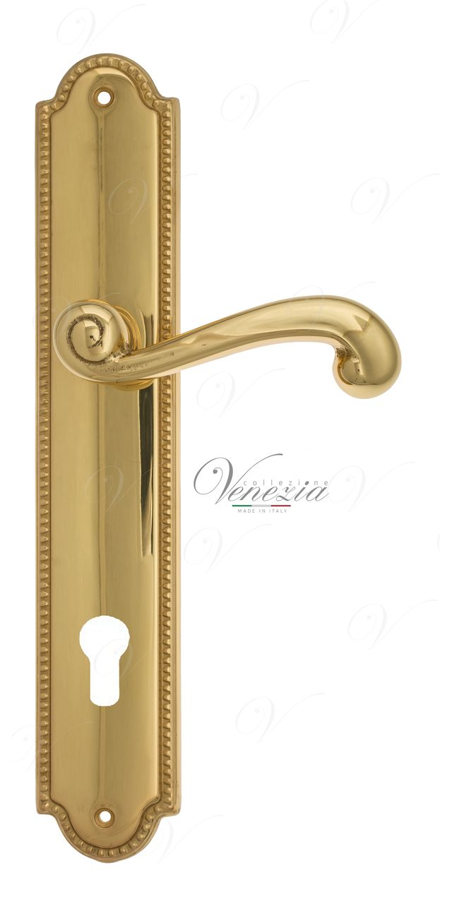 Door Handle Venezia  CARNEVALE  CYL On Backplate PL98 Polished Brass
