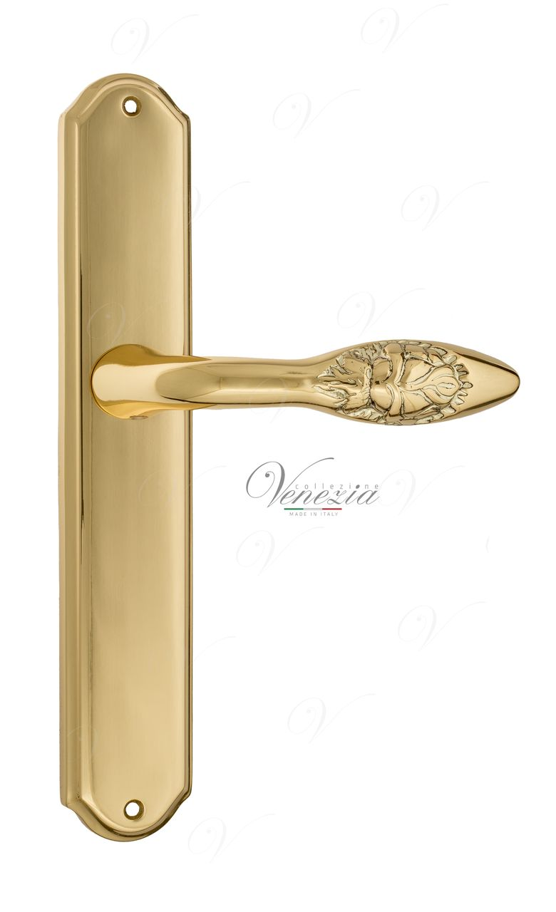Door Handle Venezia  CASANOVA  On Backplate PL02 Polished Brass